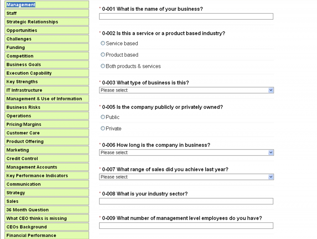 Question Set - Business Assessment Tool